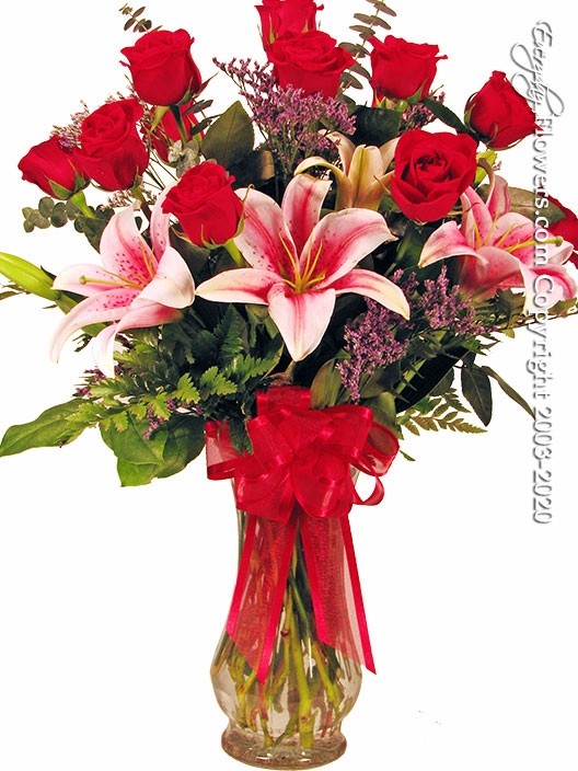 "Dozen Roses With Lilies<p style=""color:red;"">Not Available For Valentines Week</p>"
