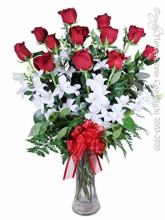 """Dozen Valentines Roses And Orchids <p style=""""color:red;"""">Sold Out</p>"""