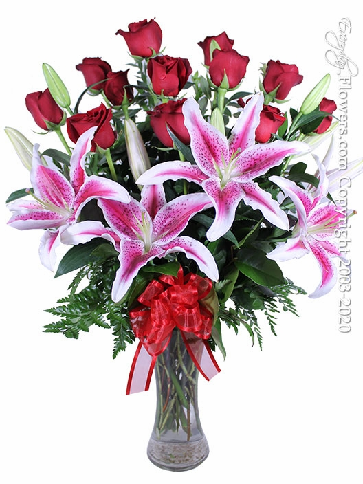 Dozen Long Stem Valentines Roses With Lilies