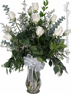 """Dozen White Roses<p style=""""color:red;"""">Add White Or Pink Lilies</p>"""