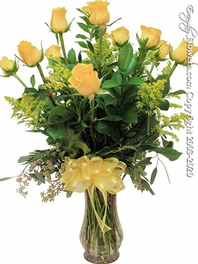 """Dozen Yellow Roses<p style=""""color:red;"""">Add White Or Pink Lilies</p>"""