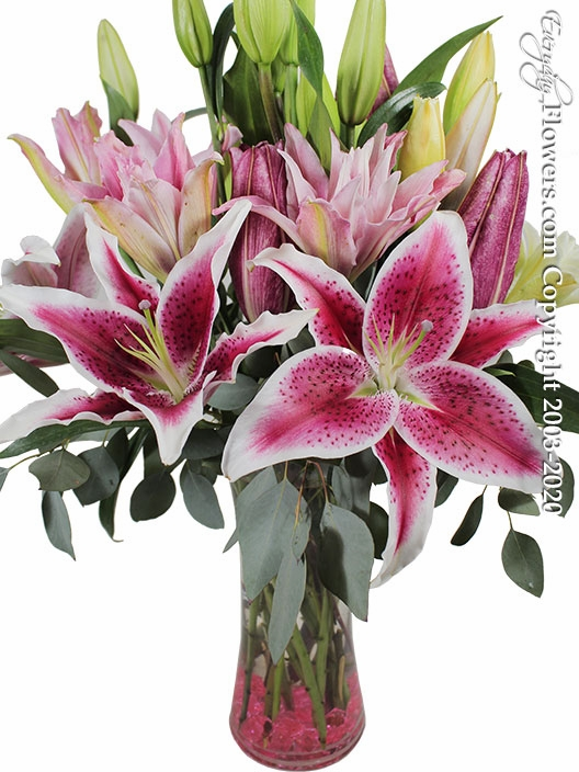"Garden Of Lilies<p style=""color:red;"">On Sale</p>"