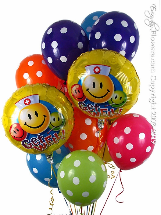 Get Well Polka Dot  Balloons