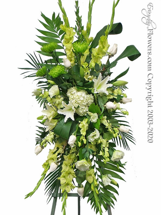 "Green Funeral Spray <p style=""color:red;"">Please Contact Us For Availability</p>"