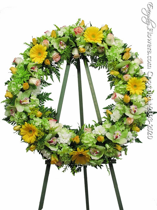 "Green Sympathy Wreath <p style=""color:red;"">Please Contact Us For Availability</p>"