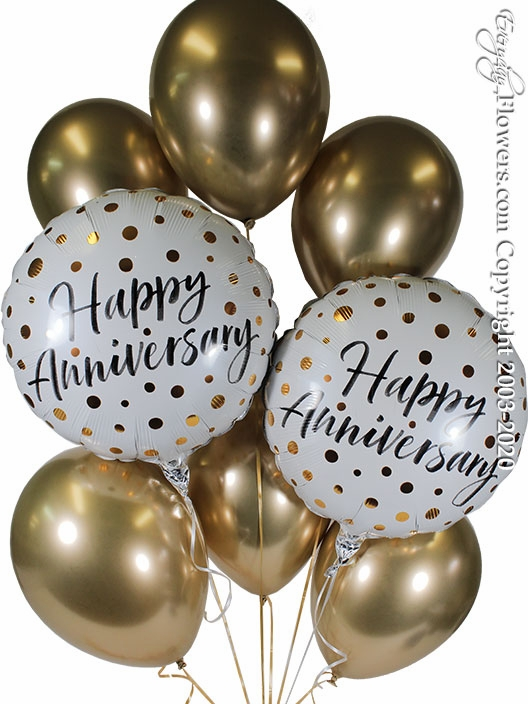 Happy Anniversary Gold Balloon Bouquet