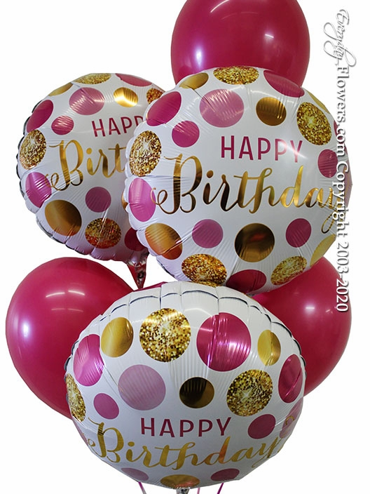 Happy Birthday Pink And Gold Dots Balloons