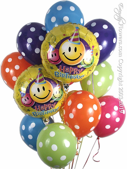 Happy Birthday Polka Dot Balloons