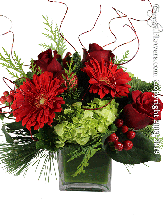 Home For The Holidays Christmas Flower Arrangements by Everyday Flowers Side View