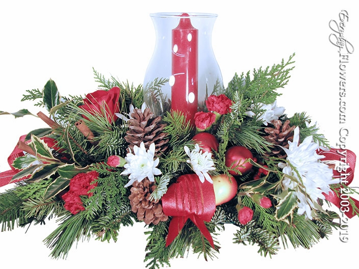 Hurricane Christmas Flowers Centerpiece
