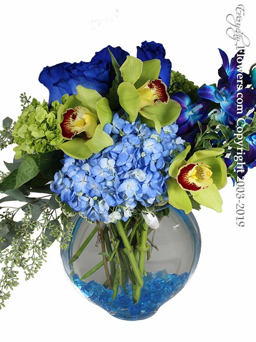 Hydrangea Blues And Greens with Blue Roses