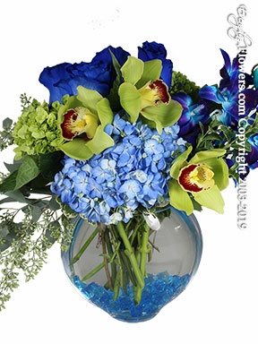 "Hydrangea Blues And Greens with Blue Roses<p style=""color:red;"">Sold Out</p>"