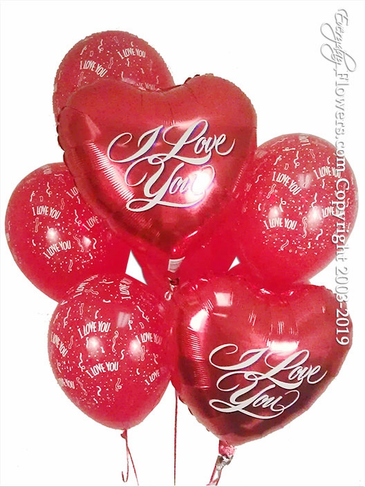 I Love You Foil Balloons Hearts