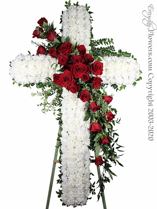 "Large Sympathy Cross With Red Roses <p style=""color:red;"">Sold Out</p>"