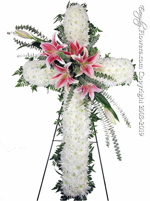 "Large Sympathy Cross With Stargazer Lilies <p style=""color:red;"">Please Contact Us For Availability</p>"