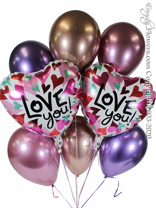 Love You Converging Hearts Balloon Bouquet