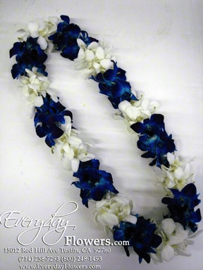 Double Blue And White Orchid Lei