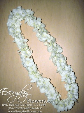 Double White Orchid Lei
