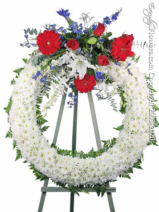"Patriotic Flowers Wreath <p style=""color:red;"">Please Contact Us For Availability</p>"