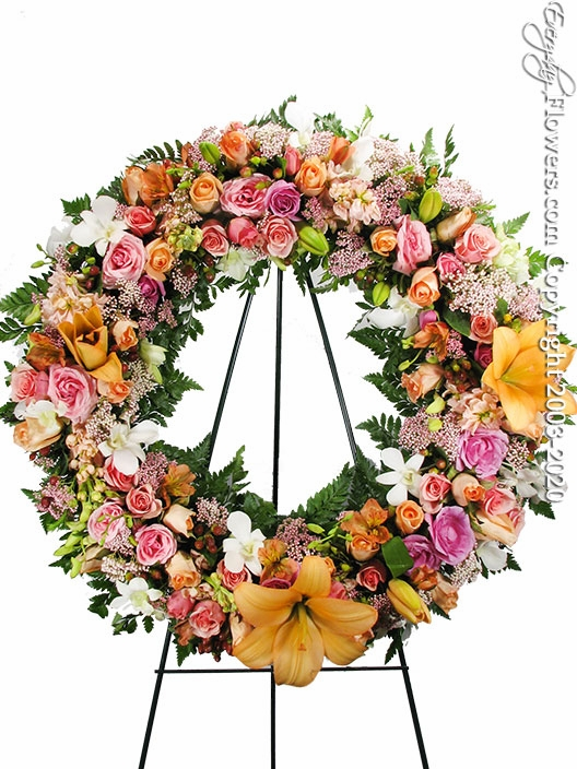 "Peach And Pink Wreath <p style=""color:red;"">Please Contact Us For Availability</p>"