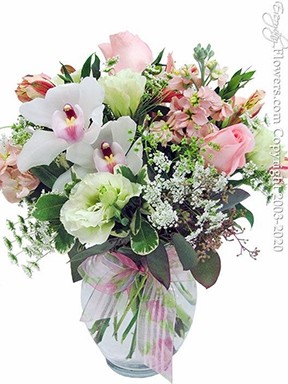"""Pink Blooms<p style=""""color:red;"""">Make Your Arrangement Bigger by Upgrading</p>"""