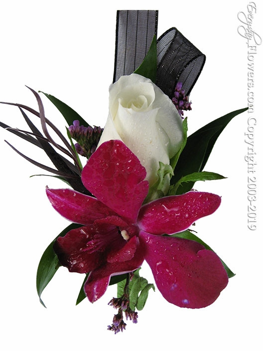 Purple Orchid White Rose Boutonniere