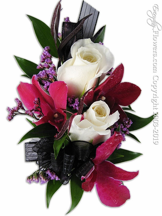 Purple Orchid White Rose Corsage
