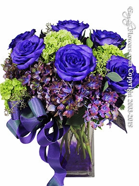 Purple Roses and Green Hydrangea<h3>This Product Is Only Available In Orange County, CA</h3>