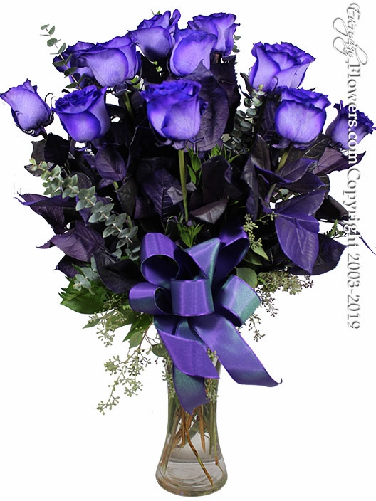 Purple Stem Dyed Dozen Long Stem Purple Roses<h3>This Product Is Only Available In Orange County, CA</h3>