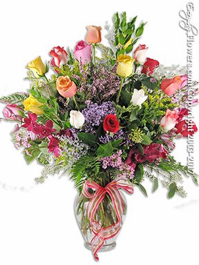 Two Dozen Mixed Roses With Orchids
