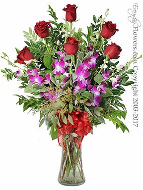 The Red Rose Bouquet Featuring Purple Orchids