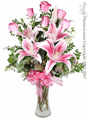 The Pink Rose Bouquet Featuring Stargazer Lilies