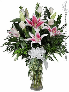 The White Rose Bouquet Featuring Stargazer Lilies