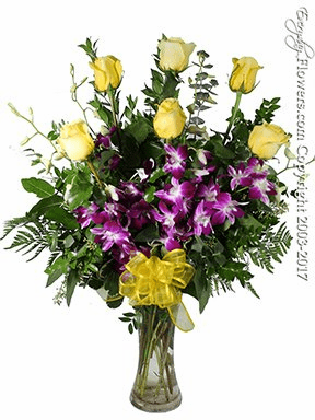The Yellow Rose Bouquet Featuring Purple Orchids