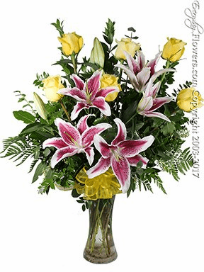 The Yellow Rose Bouquet Featuring Stargazer Lilies