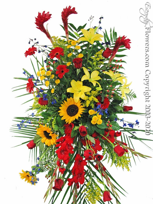 "Red And Yellow Flower Spray <p style=""color:red;"">Please Contact Us For Availability</p>"