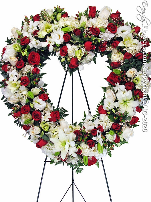 "Red & White Funeral Heart <p style=""color:red;"">Please Contact Us For Availability</p>"