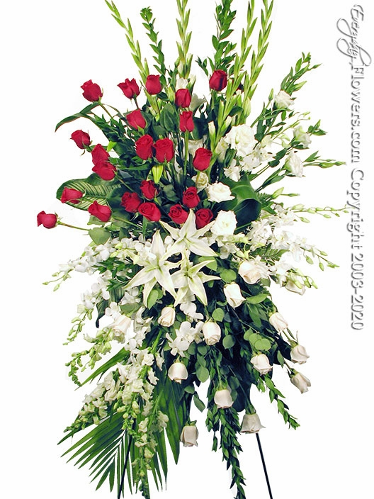 "Red & White Funeral Spray <p style=""color:red;"">Please Contact Us For Availability</p>"
