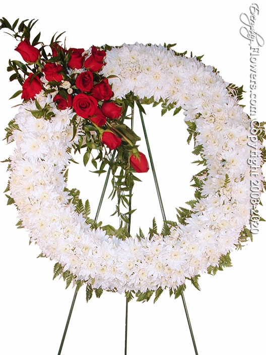 "Red & White Funeral Wreath <p style=""color:red;"">Please Contact Us For Availability</p>"