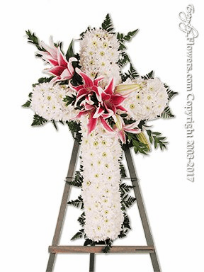 Sympathy Cross With Stargazer Lilies