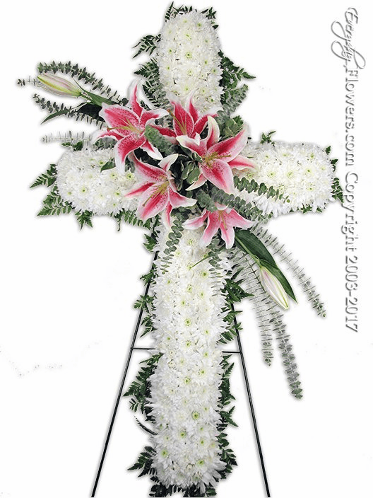 Large Sympathy Cross With Stargazer LIlies