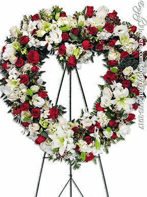 Red & White Funeral Heart