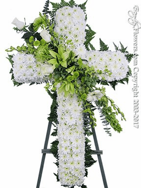 Green And White Sympathy Cross