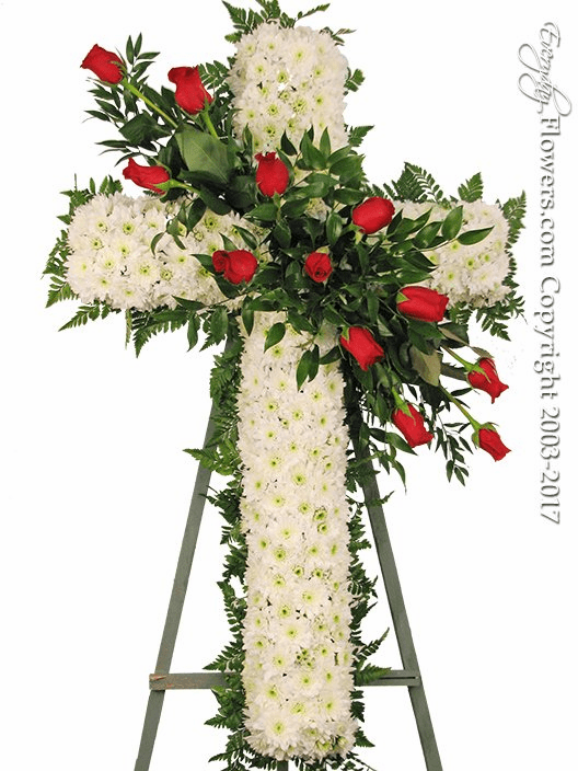 White Funeral Cross With Red Roses