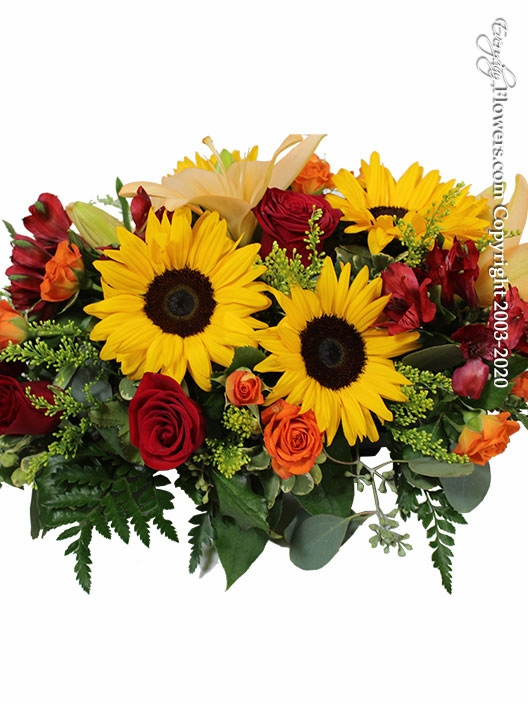 "Seasonal Centerpiece<p style=""color:red;"">Enhance Your Arrangement By Choosing Larger Sizes</p>"
