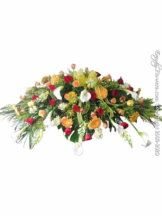 "Spring Casket Flowers <p style=""color:red;"">Please Contact Us For Availability</p>"