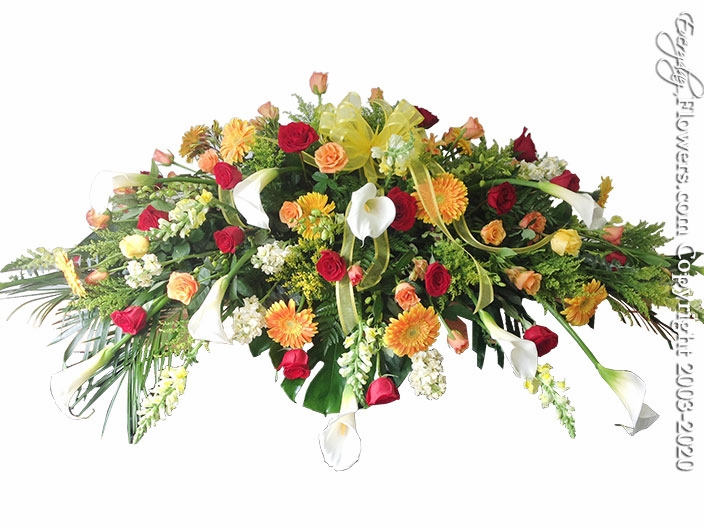 """Spring Casket Flowers <p style=""""color:red;"""">Please Contact Us For Availability</p>"""