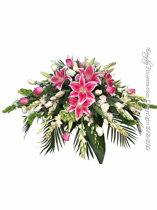 "Stargazer Casket Flowers <p style=""color:red;"">Please Contact Us For Availability</p>"