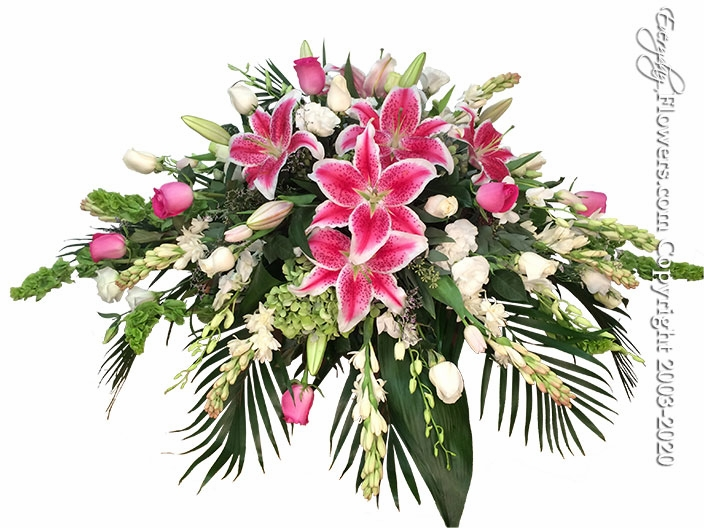 """Stargazer Casket Flowers <p style=""""color:red;"""">Please Contact Us For Availability</p>"""