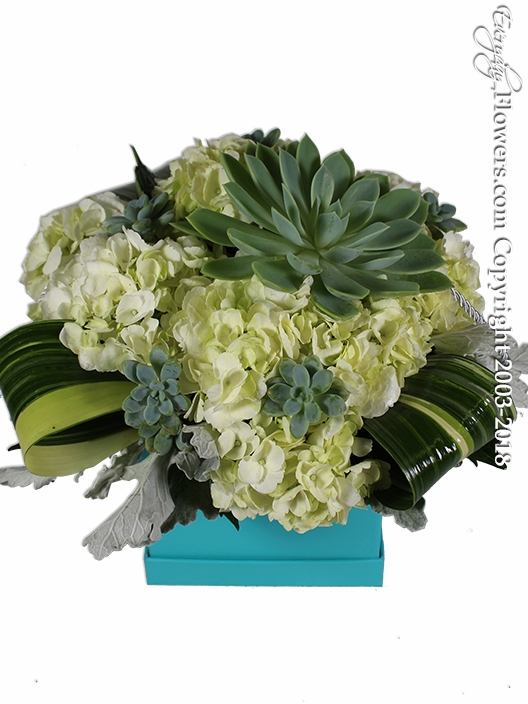 Succulents And Hydrangea Gift Box